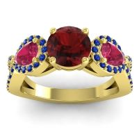 Three Stone Pave Varsa Garnet Ring with Ruby and Blue Sapphire in 18k Yellow Gold