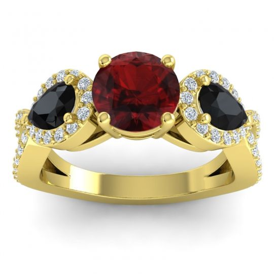 Garnet Three Stone Pave Varsa Ring with Black Onyx and Diamond in 18k Yellow Gold