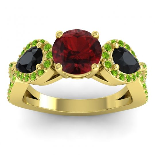 Garnet Three Stone Pave Varsa Ring with Black Onyx and Peridot in 14k Yellow Gold