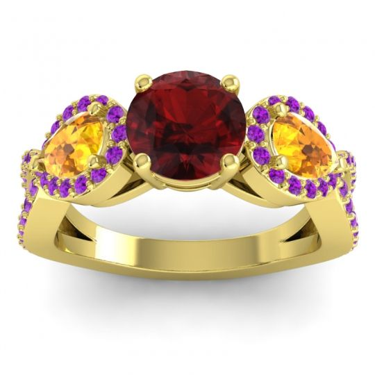 Garnet Three Stone Pave Varsa Ring with Citrine and Amethyst in 18k Yellow Gold