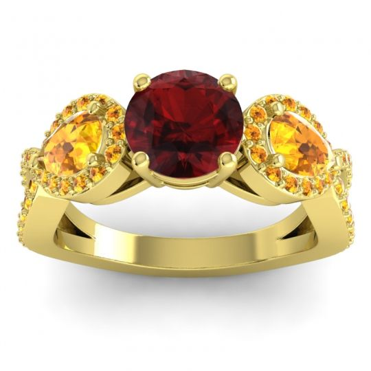 Garnet Three Stone Pave Varsa Ring with Citrine in 18k Yellow Gold