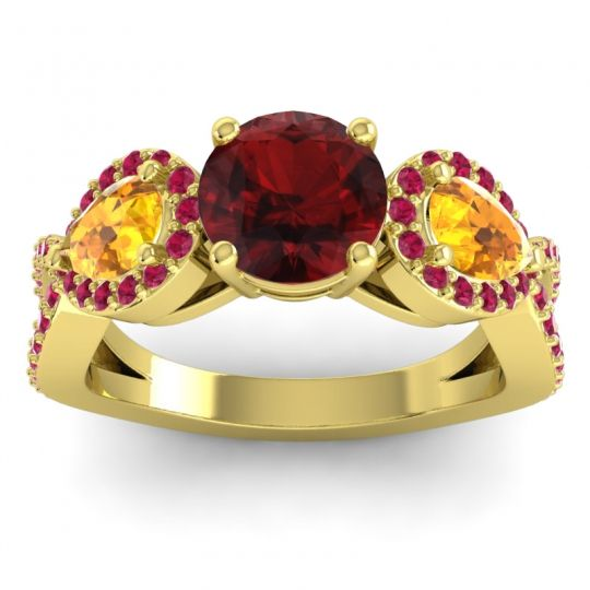 Garnet Three Stone Pave Varsa Ring with Citrine and Ruby in 14k Yellow Gold