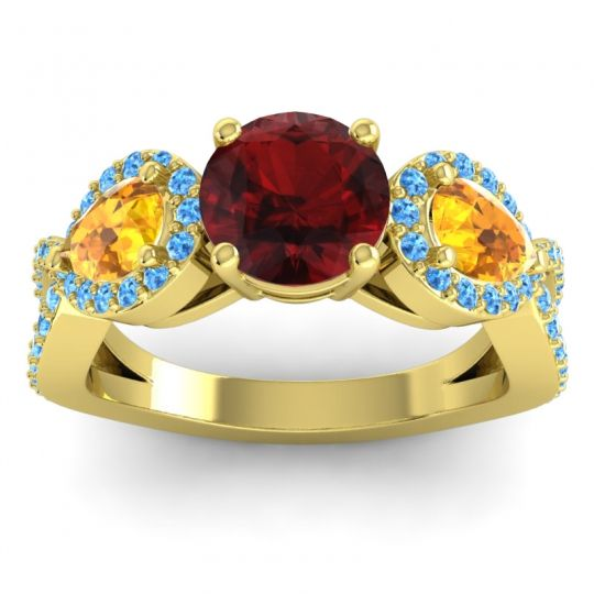 Garnet Three Stone Pave Varsa Ring with Citrine and Swiss Blue Topaz in 18k Yellow Gold