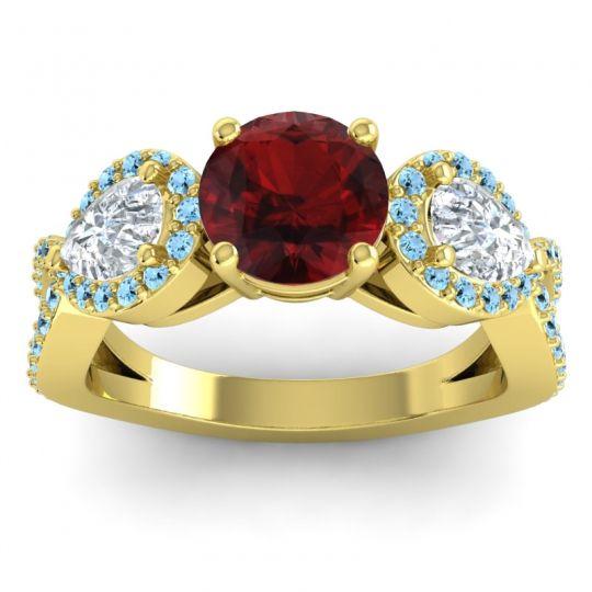 Garnet Three Stone Pave Varsa Ring with Diamond and Aquamarine in 14k Yellow Gold
