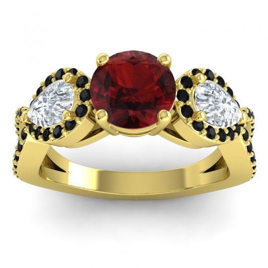 Garnet Three Stone Pave Varsa Ring with Diamond and Black Onyx in 14k Yellow Gold