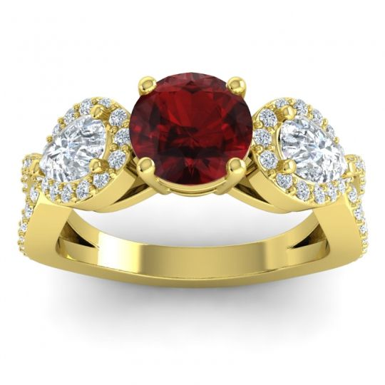 Garnet Three Stone Pave Varsa Ring with Diamond in 18k Yellow Gold