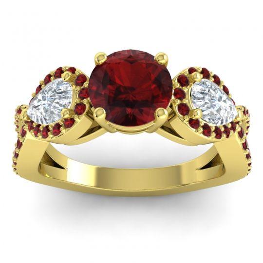 Garnet Three Stone Pave Varsa Ring with Diamond in 14k Yellow Gold
