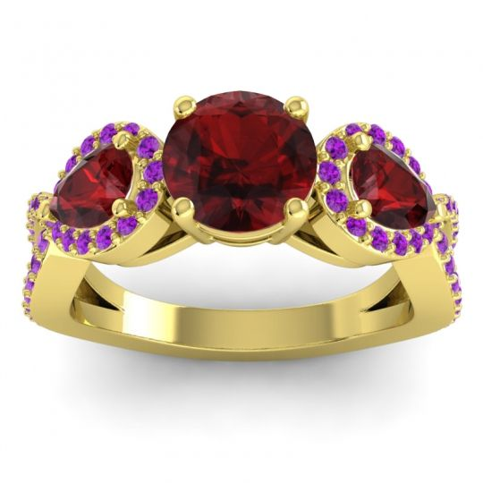 Garnet Three Stone Pave Varsa Ring with Amethyst in 18k Yellow Gold
