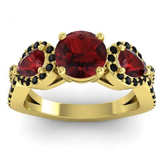 Garnet Three Stone Pave Varsa Ring with Black Onyx in 18k Yellow Gold
