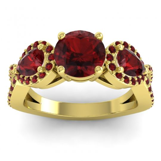Garnet Three Stone Pave Varsa Ring in 18k Yellow Gold