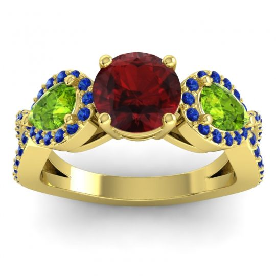 Garnet Three Stone Pave Varsa Ring with Peridot and Blue Sapphire in 14k Yellow Gold