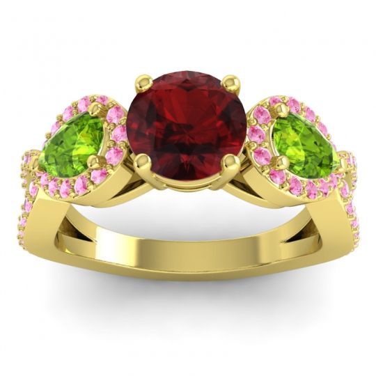 Garnet Three Stone Pave Varsa Ring with Peridot and Pink Tourmaline in 18k Yellow Gold