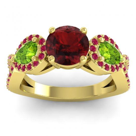 Garnet Three Stone Pave Varsa Ring with Peridot and Ruby in 14k Yellow Gold