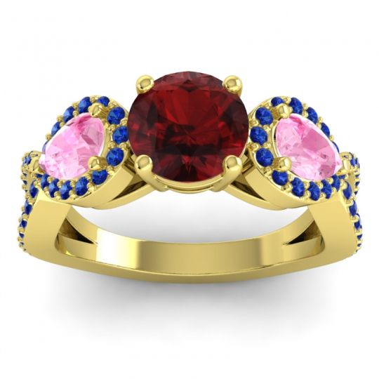 Garnet Three Stone Pave Varsa Ring with Pink Tourmaline and Blue Sapphire in 14k Yellow Gold