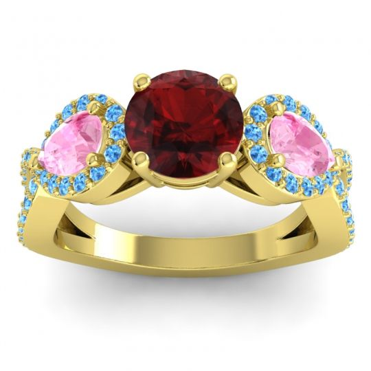 Garnet Three Stone Pave Varsa Ring with Pink Tourmaline and Swiss Blue Topaz in 14k Yellow Gold