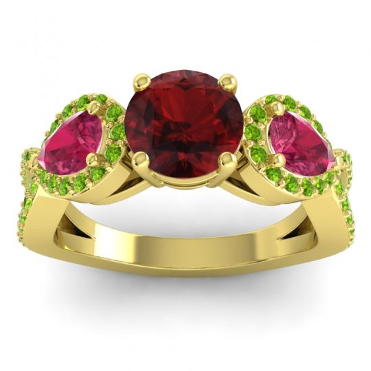 Garnet Three Stone Pave Varsa Ring with Ruby and Peridot in 18k Yellow Gold