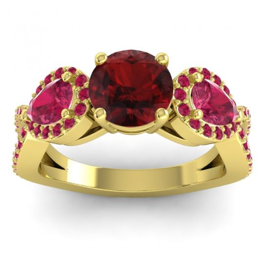 Garnet Three Stone Pave Varsa Ring with Ruby in 14k Yellow Gold