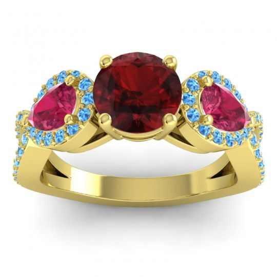 Garnet Three Stone Pave Varsa Ring with Ruby and Swiss Blue Topaz in 18k Yellow Gold