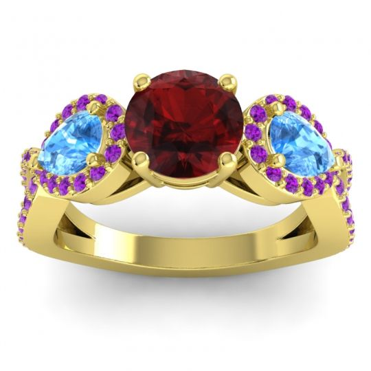 Garnet Three Stone Pave Varsa Ring with Swiss Blue Topaz and Amethyst in 18k Yellow Gold
