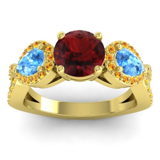 Garnet Three Stone Pave Varsa Ring with Swiss Blue Topaz and Citrine in 14k Yellow Gold