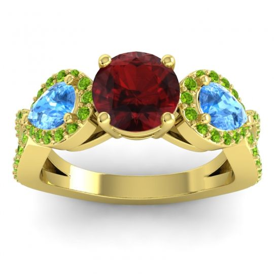 Garnet Three Stone Pave Varsa Ring with Swiss Blue Topaz and Peridot in 18k Yellow Gold
