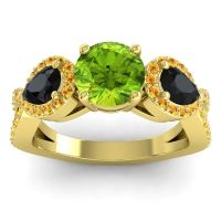 Three Stone Pave Varsa Peridot Ring with Black Onyx and Citrine in 14k Yellow Gold