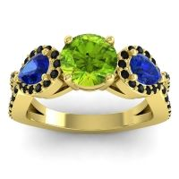 Three Stone Pave Varsa Peridot Ring with Blue Sapphire and Black Onyx in 14k Yellow Gold