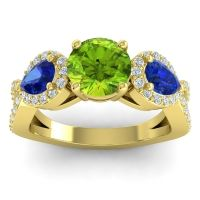 Three Stone Pave Varsa Peridot Ring with Blue Sapphire and Diamond in 14k Yellow Gold
