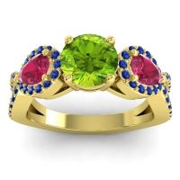 Three Stone Pave Varsa Peridot Ring with Ruby and Blue Sapphire in 14k Yellow Gold