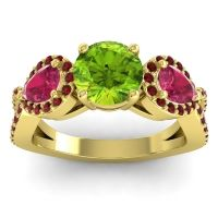 Three Stone Pave Varsa Peridot Ring with Ruby and Garnet in 18k Yellow Gold