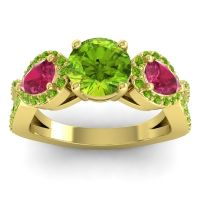 Three Stone Pave Varsa Peridot Ring with Ruby in 14k Yellow Gold