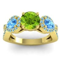 Three Stone Pave Varsa Peridot Ring with Swiss Blue Topaz and Aquamarine in 14k Yellow Gold