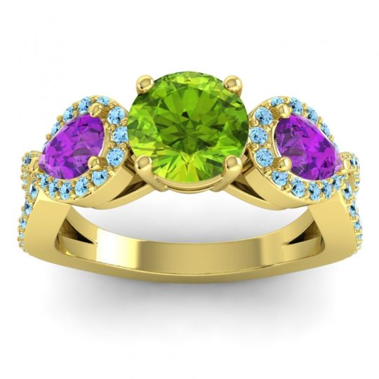 Peridot Three Stone Pave Varsa Ring with Amethyst and Aquamarine in 18k Yellow Gold