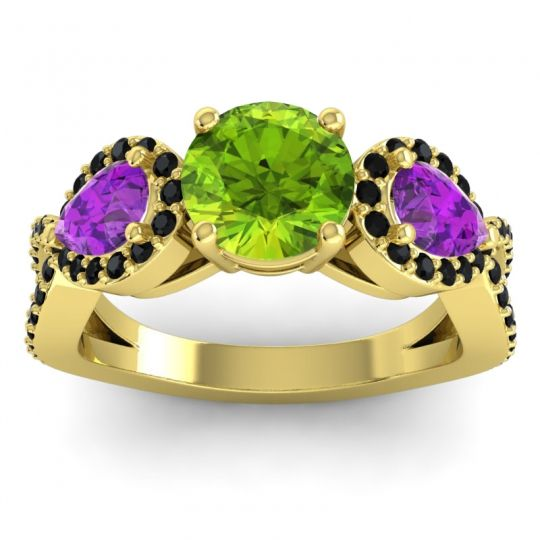 Peridot Three Stone Pave Varsa Ring with Amethyst and Black Onyx in 18k Yellow Gold