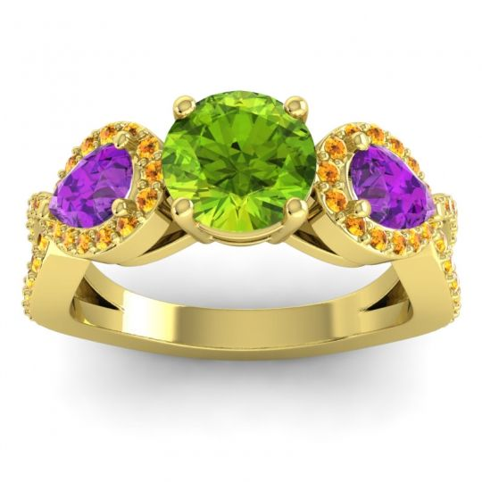 Peridot Three Stone Pave Varsa Ring with Amethyst and Citrine in 14k Yellow Gold