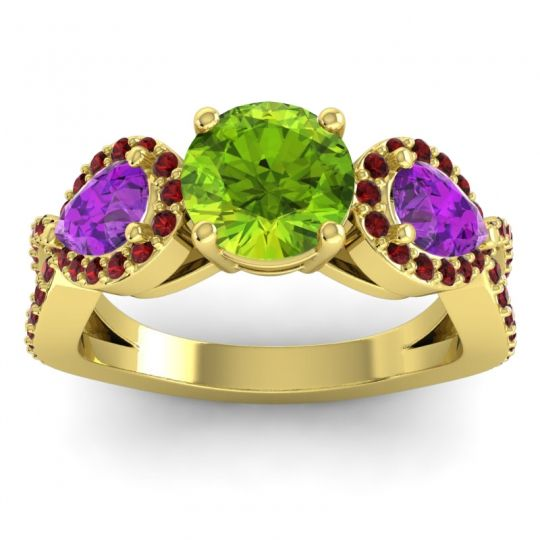 Peridot Three Stone Pave Varsa Ring with Amethyst and Garnet in 14k Yellow Gold