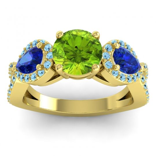 Three Stone Pave Varsa Peridot Ring with Blue Sapphire and Aquamarine in 18k Yellow Gold