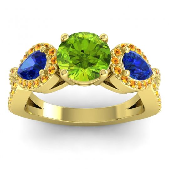 Three Stone Pave Varsa Peridot Ring with Blue Sapphire and Citrine in 18k Yellow Gold