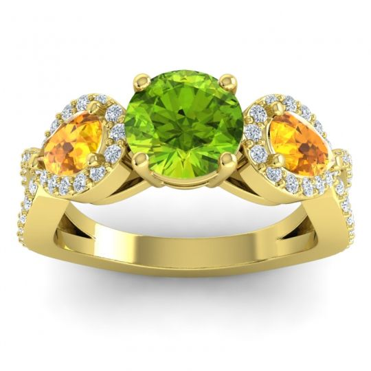 Three Stone Pave Varsa Peridot Ring with Citrine and Diamond in 18k Yellow Gold