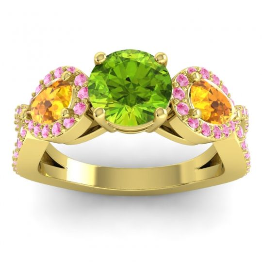Three Stone Pave Varsa Peridot Ring with Citrine and Pink Tourmaline in 18k Yellow Gold