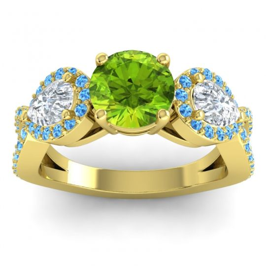 Three Stone Pave Varsa Peridot Ring with Diamond and Swiss Blue Topaz in 18k Yellow Gold