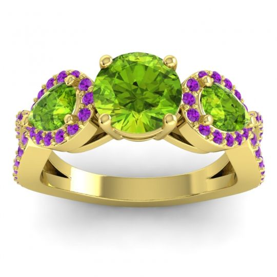 Three Stone Pave Varsa Peridot Ring with Amethyst in 18k Yellow Gold