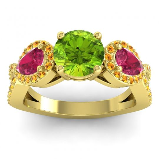 Three Stone Pave Varsa Peridot Ring with Ruby and Citrine in 14k Yellow Gold