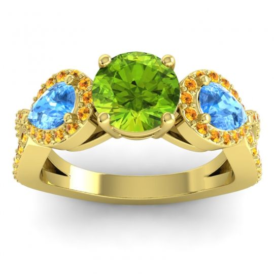 Three Stone Pave Varsa Peridot Ring with Swiss Blue Topaz and Citrine in 14k Yellow Gold