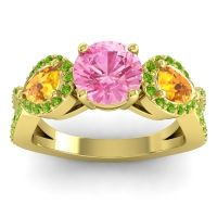 Three Stone Pave Varsa Pink Tourmaline Ring with Citrine and Peridot in 14k Yellow Gold