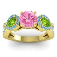 Three Stone Pave Varsa Pink Tourmaline Ring with Peridot and Swiss Blue Topaz in 18k Yellow Gold
