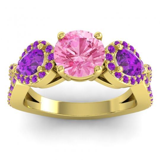 Three Stone Pave Varsa Pink Tourmaline Ring with Amethyst in 14k Yellow Gold