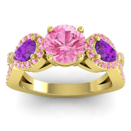 Pink Tourmaline Three Stone Pave Varsa Ring with Amethyst in 18k Yellow Gold