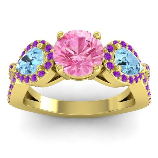 Pink Tourmaline Three Stone Pave Varsa Ring with Aquamarine and Amethyst in 14k Yellow Gold
