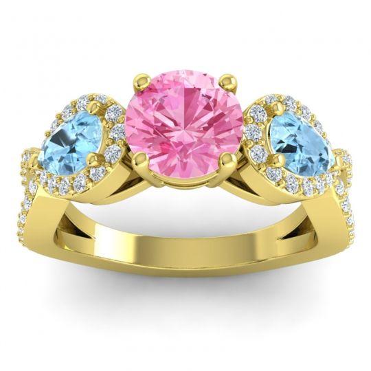 Three Stone Pave Varsa Pink Tourmaline Ring with Aquamarine and Diamond in 14k Yellow Gold